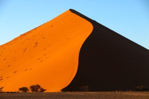 Sunrise on a giant dune in the Namib desert