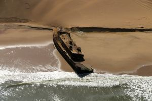 A wreck on the Skeleton Coast