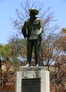 The statue of Curt von Francois - one of the most aggressive of the first German colonial military leaders still stands in Windhoek