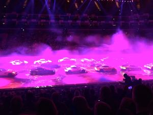 Dramatic scenes at the Clarkson, Hammond and May show at the O2