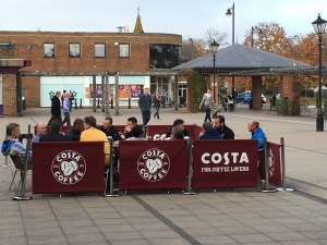 "The Cranleigh ""Footie"" dads enjoying the traditional post-match Costa Coffee - I scored a hat-trick playing with fellow-dad Graeme Le Saux this month!"
