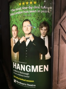 The poster for the Hangmen play at the Theatre, London