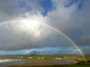 Rainbow over Croyde Bay from Down End House
