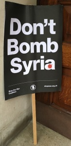 A discarded banner from the Stop the War march during the Parliamentary debate on bombing Syria