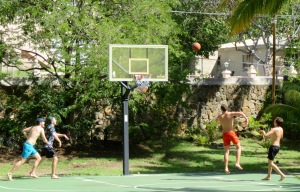Alex and Matt join Harry and Max Adorian for some Caribbean basketball action