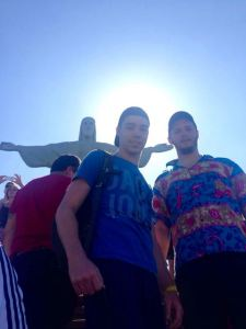 Matt and his friend Jack (with the halo!) have a epiphany under the Christ statue in Rio
