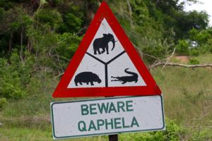 An interesting warning sign in the Umfolozi Park
