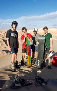 "Matt and friends ""sand boarding"" in the Atacama Desert"