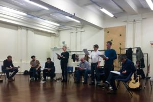 The first read-through of Sir Christopher Bland's play on the Easter Rising at the RSC rehearsal rooms