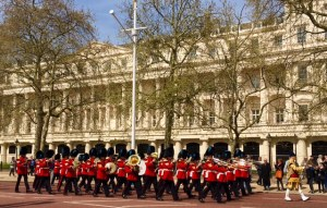 The band of the Household Cavalry marching down the Mall on the Queen's 90th Birthday
