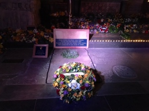 Shakespeare's grave in Trinity Church at midnight on the 400th anniversary of his death