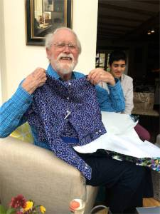 Dad celebrates receiving a lively 92nd Birthday shirt!