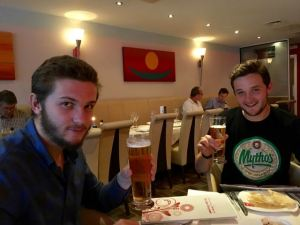 Alex and Matt back in Cranleigh for the first time together since February enjoying celebratory Indian!