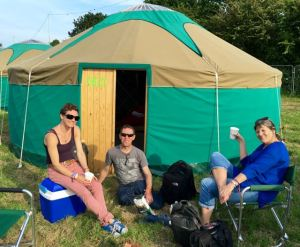 Relaxing with Jonathan and Hayley outside our IoW yurt