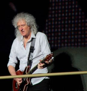Brian May of Queen rocking at the Isle of Wight on the final evening