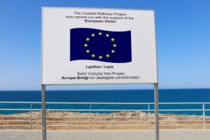 A strange sign of EU funding in the Turkish half of Cyprus