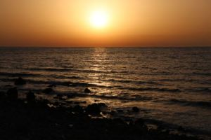 Sunset over the Mediterranean on the North Cyprus coast