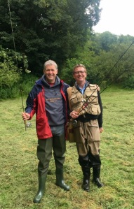 Yours truly being initiated to the joys of fly fishing in Devon by David Newman