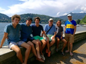 The boys with sundry mates after a fine lakeside lunch in Como