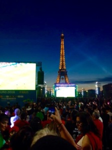 Alex watching the Euro Football from the fanzone by the Eiffel Tower