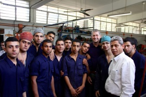 With young Palestinian refugees in Beirut at a vocational training centre