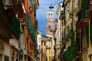 A colourful street in historic Verona